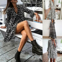 Womens Boho Leopard Print Short Sleeve Maxi Dress/Midi Dress Ruffle Deep V Neck