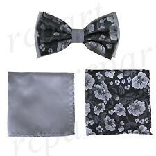 New Brand Q Men's Pre-tied Bow tie & hankie 2 tone gray black flower formal