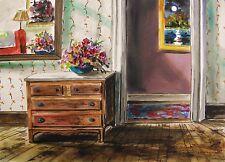 ORIGINAL Flower Room WATERCOLOR Painting JMW John Williams Realism