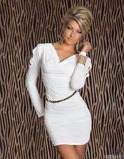 Miniabito  Donna Vestito Abito QOC B036 Vestitino Bianco Tg Unica veste S/M