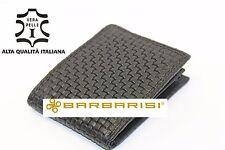 portafoglio nero in vera pelle stampa intrecciata intreccio  porta carte credito