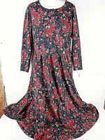 Laura Ashley Women's Dress Floral Long Sleeve ~ Sz 12 [38 Bust 34 W 48 Length]
