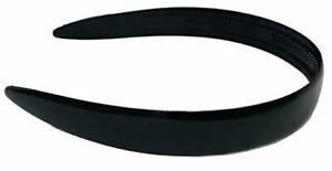 Parcelona French Wide Black Celluloid Acetate Flexible Hair Head Band Headband