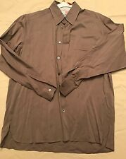 Ermenegildo Zegna Men's Long Sleeve Button Front Shirt, Brown, Size L