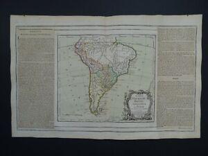 1766 BRION / Desnos Atlas map  SOUTH AMERICA - Chile Paraguay Brazil Peru Amazon