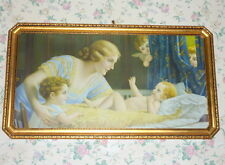 "1920's Framed 42"" Lithograph Fr. Laubnitz Mother Infant Baby Child & Cherubs"