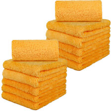 "12 Pcs Microfiber Towel Thick Edgeless Lint Free Cleaning 16""x16"" 450 GSM Orange"