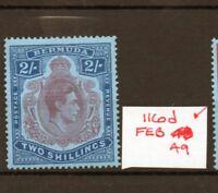 BERMUDA GEORGE VI SG116d Feb 49 Ptg. lightly hinged.