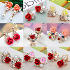 Fashion Women Ladies Gold Metal Rose Flower Crystal Rhinestone Ear Stud Earrings