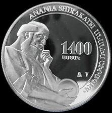 ARMENIA 100 DRAM SILVER COIN 2005 Anania Shirakatsi 1600th Anniversary Of Birth