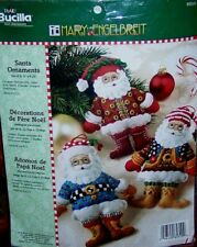 Bucilla Santa Ornaments Mary Engelbreit Felt Christmas Kit (6) Very Rare New Oop