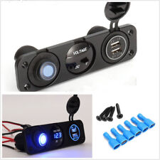 12V 3.1A Blue LED Voltmeter Car Rocker Switch Panel Dual USB Charger Waterproof