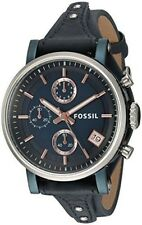 Fossil Women's 38mm Blue Calfskin Band Steel Case Quartz Watch ES4113