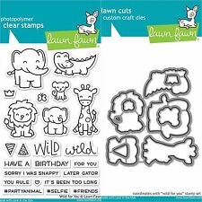 """Lawn Fawn """"WILD FOR YOU"""" Clear Photopolymer Stamps Set AND Matching Dies"""