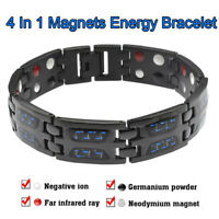 THERAPEUTIC ENERGY BRACELET Carbon Fiber Titanium Steel Magnetic Health Therapy