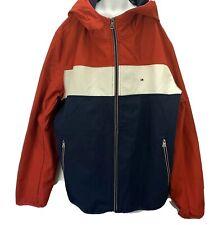 Tommy Hilfiger Mens XL Red Hoodie Jacket Flag Logo Spell...