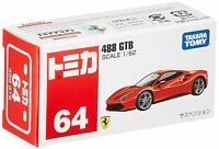 Tomica #64 Ferrari 488 GTB 1/62 Diecast Model Car Takara Tomy Japan