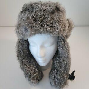 Mad Bomber Black Aviator Hat Bomber Cap Real Rabbit Fur Lining G4