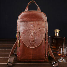 Womens Unisex Genuine Leather Backpack Chest Shoulder Bag QR Handbag Crocodile