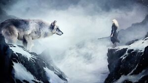 Wolf Vs Chinese Warrior - Snow Mountain Landscape Large Poster / Canvas Pictures