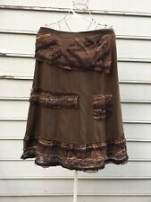 ANTHROPOLOGIE Brown Bohemian Skirt By Hazel Size Medium NWT