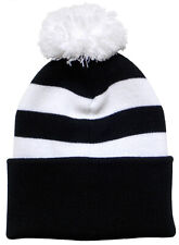 Notts County Supporters Black and White Traditional Style Bobble Hat