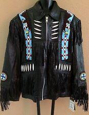 NEW Dream Apparel Black Indian Beaded Fringe Men's Leather Jacket Size Medium M