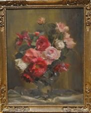 19th Century English Impressionist Still Life Red Pink White Roses Flowers