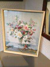 Vintage Vernon Ward Still Life Flower Print in White & Gold Wood Frame #5050