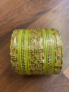 Wrist Bangles Small - Lime Green And Gold