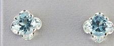 Blue Topaz Round 5 mm Clover Stud Earrings Sterling Silver