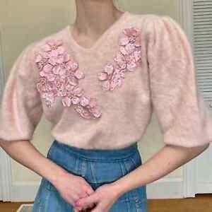 80's Light Pink Angora Puff Sleeve Sweater