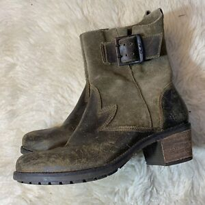OluKai Kaiulani Green Leather Women's Size 8 Buckle Zip Up Ankle Heel Boots