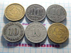 Coins Home Lot 6 circulated 1874-1924 Germany 6 kind of 10 pfennig Set#ZIP15