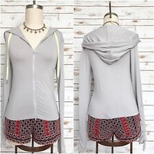 FREE PEOPLE White Hot Hoodie Ruched Athletic Performance Jacket Silver Size S