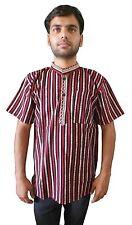 Men Kurta Casual Indian Half Sleeve Collarless Bollywood Shirt 100% Cotton