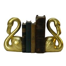Resin Flamingo Bookends in Faux Gold Leaf Sold As Pair