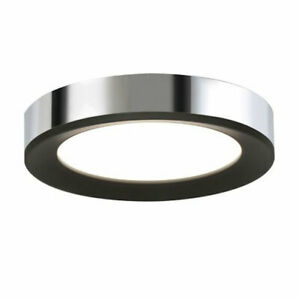 LED Ceiling Light in Black Polished Chrome (12 in. Dia x 2 in. H)