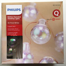 Philips 30ct Christmas Battery LED Iridescent Dewdrop Globe String Fairy Lights