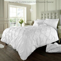 Pintuck Pleated Duvet Cover with Pillowcase Bedding Set  All Sizes & Colors