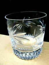 Exquisite Palm Tree Heavy Crystal 4 Highball Tumblers And 4 Old Fashioneds