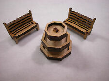 "Dollhouse Miniature 1/4""  Scale Fountain with 2 Benchs #Z294"