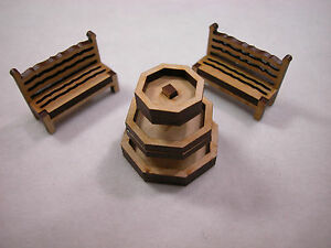 """Dollhouse Miniature 1/4""""  Scale Fountain with 2 Benchs #Z294 CLOSING"""