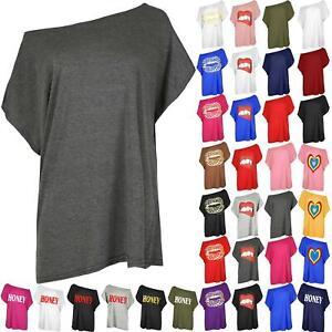 Womens Ladies Off Shoulder Slash Neck T Shirt Plain Oversized Baggy Bardot Top