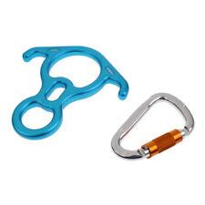 50Kn Figure 8 Descender+25Kn D-Ring Climbing Carabiner Clip Hook Mountaineer