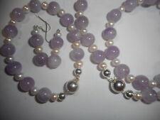 Lavender Amethyst & Quality Cultured Pearl Necklace Bracelet & Earrings SET mint