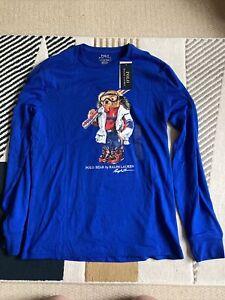 Ralph Lauren Bear Small Long Sleeve Tshirt Blue Polo Mens Adults