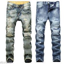 Hot Men's JEANS DÉLAVÉ DESIGN TENDANCE DROIT Pantalon slim jeans décontracté