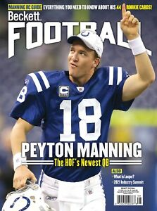 New AUGUST 2021 Beckett FOOTBALL Card Price Guide Magazine with PEYTON MANNING 6