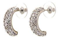 Swarovski Elements Crystal Palace Hoop Pierced Earrings Rhodium Authentic 7237w